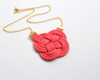 Coral necklace, rope necklace, knot necklace, nautical necklace, knotted necklace, coral and gold necklace, spring trends, gift for her