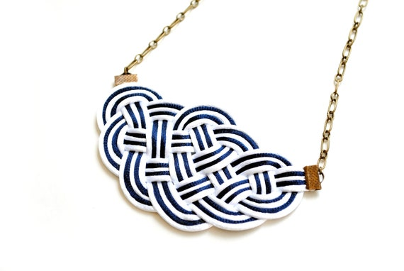 Knot necklace, white and navy necklace, nautical necklace, striped necklace, navy and white stripes, gift for her, summer trends