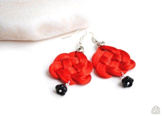 Red earrings, red and black earrings, chandelier earrings, knot earrings, celtic heart knot earrings, satin cord earrings