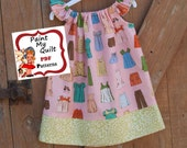 "INSTAND DOWNLOAD Girls Dress Pattern PDF Pillow Case Dress Sewing Pattern  sizes 6m through to 8 years ""Sky PIllow Case Dress"""