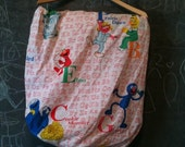 vintage sesame street baby crib sheet for nursery - elmo, big bird, oscar