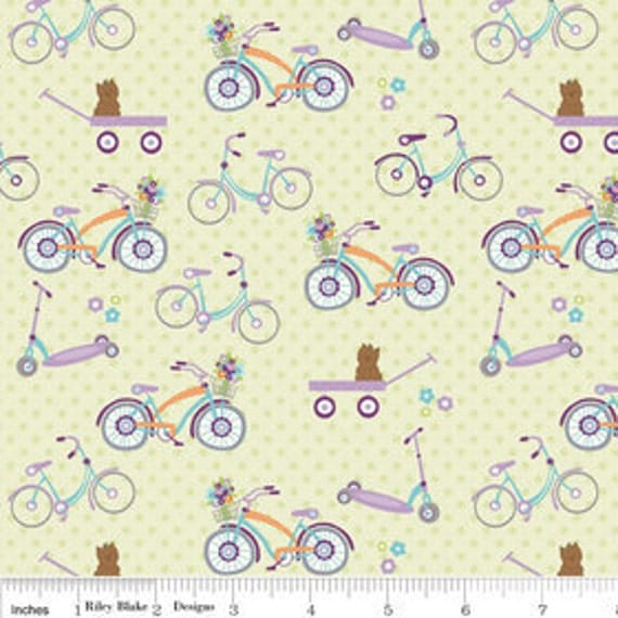 Clearance - Dress Up Days - Bikes in Green - by Doohickey Designs for Riley Blake - 1 Yard