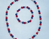 SALE -- Red White and Blue Patriotic Glass Pearls Bracelet & Neckace Set