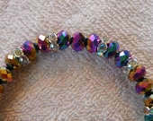 Shiny Multcolor Rainbow Prism Crystals with Clear Rhinestones Bracelet