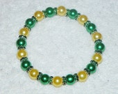 Green and Yellow Pearls with Silver Plated Green Rhinestones Bracelet - Green Bay Packers