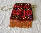 Vintage Purse 70s , Grand Ole Oprey, Beaded , Fringe , Drawstring , Hand Made , Colorful , Clean , No Odors