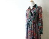 Vintage Dress Japanese S// 60s Dress// Paisley Psychedelic Dress// Chiffon Japan