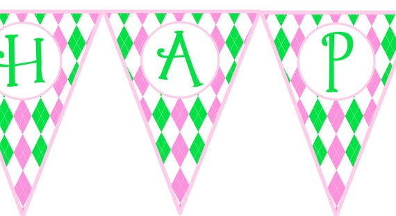 Preppy Argyle Pink & Green Printable Birthday Banner