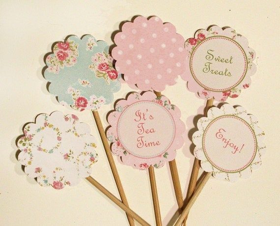Vintage Party Printable Cupcake Toppers