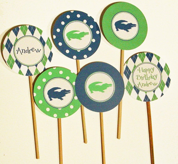 Boys Preppy Birthday Printable Cupcake Toppers