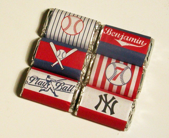 Baseball Party Printable Mini Candy Bar Personalized Wrappers