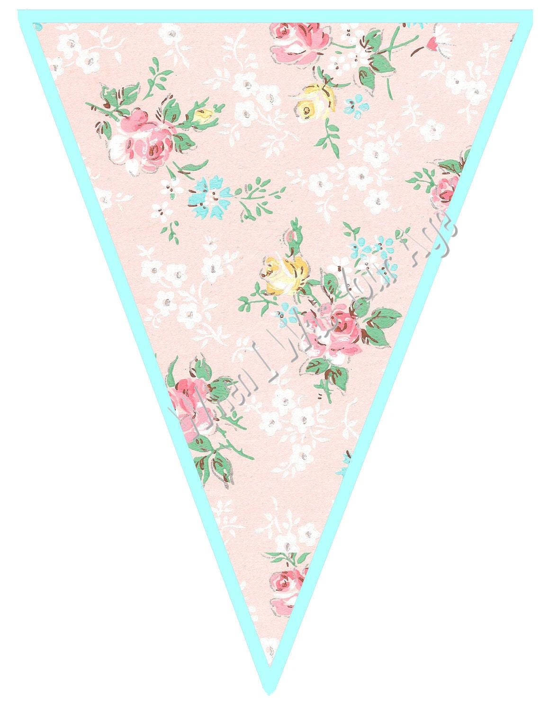 Printable Vintage Birthday Banner ~ Instant download printable vintage floral banner