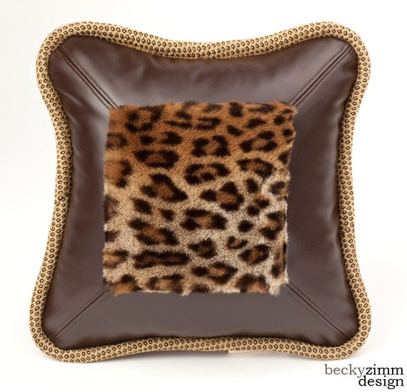 Throw Pillow- Faux Fur- Leopard-Faux Leather-  by beckyzimmdesign