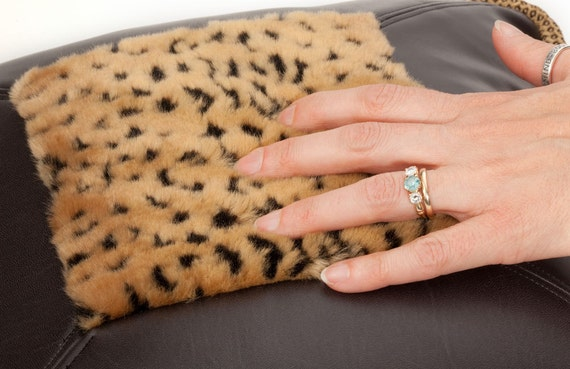 Throw Pillow- Faux leather- Black- Cheetah faux fur- by beckyzimmdesign