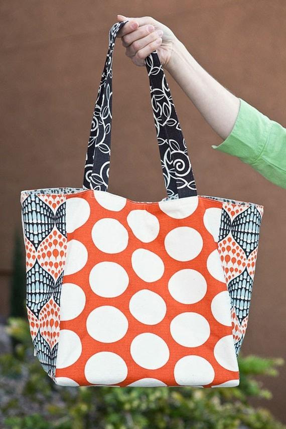 Tote bag- IKAT Canvas Tote- Aqua/Orange Ikat- Orange and white polka dots- by beckyzimmdesign