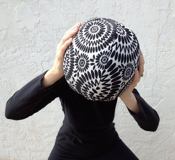 Throw Pillow- Decorative Throw Pillow- Psychedelic Spiral Circles- Black and White- by beckyzimmdesign