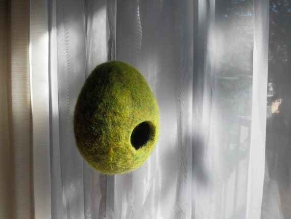 Hanging Nest, Playful Unique Storage Pod, Felted Wool, Green