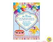 Boy's first birthday invitation / Birthday Invitation Card Balloons Cake Gifts Party
