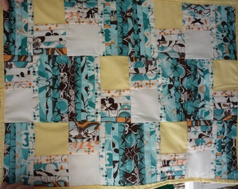Doll (miniture) quilt (blue,brown,yellow,white)