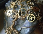 Steampunk Tree of Life Pendant -  Pyrite and Swarovski Crystals - Gold and Watch Gears - fool's gold - Whimsical - JbellsGems