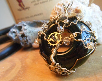 Tree of Life Pendant - Steampunk - Wine Bottle Lip - Olive Green and Gold