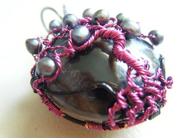 Tree of Life Pendant - Purple Wire - Fresh Water Black Pearls - Black and White Agate