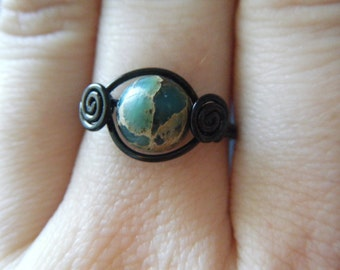 Aqua Terra Jasper Ring - Black Wire Wrapped - Natural Stone - Made to Order