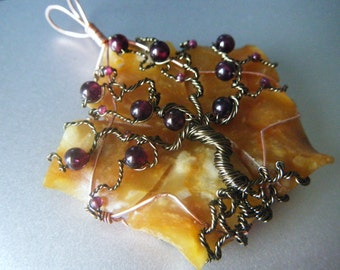 Flower Tree of Life Pendant - Antique Brass with Garnet - Orange and Red