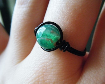 Green Crackled Agate Ring - Black Wire Wrapped - Made to Order