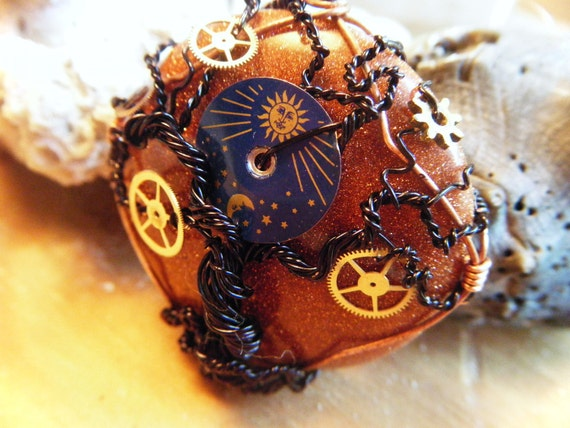 RESERVED - Tree of Life Pendant - Steampunk - Whimsical - Goldstone and Gears - Black Moon and Star Dial