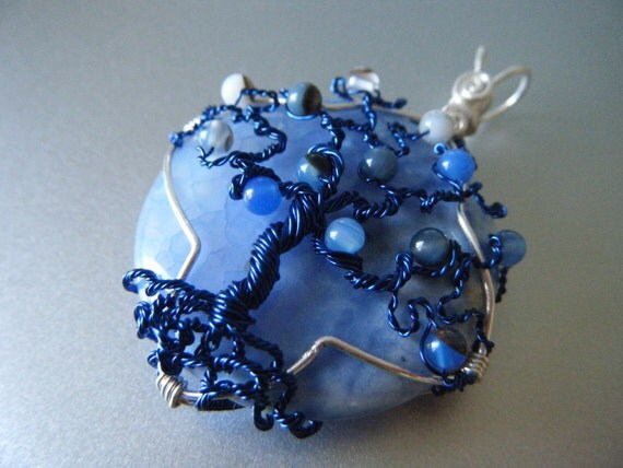 Tree of Life Pendant - Crazy Lace Agate - Periwinkle and Deep Blue Wire