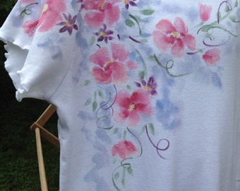 Girls Hand Painted A Line  Cotton Dress  with Pink Flowers Size 10, On Sale/ 20% Off