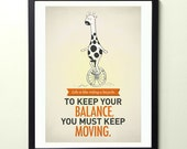 Life Quote wall decor - Keep moving forward - Typography poster print A3