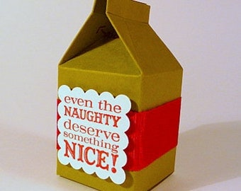 Mini milk cartons, set of 6, DIY kit, Christmas party favors, gift boxes, naughty and nice, green red favor boxes