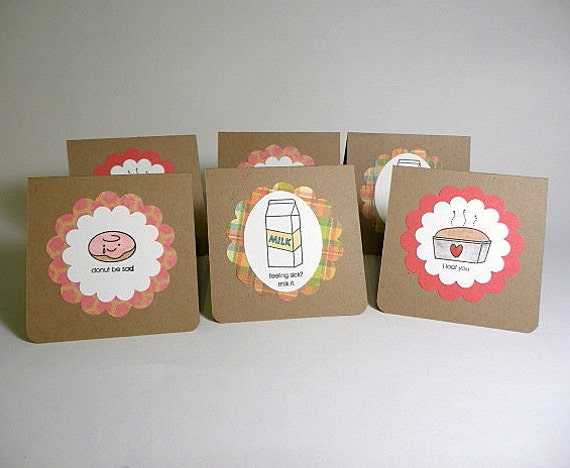 Mini cards, set of six, lunchbox notes, humorous, comfort food, unisex, handstamped