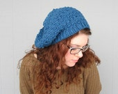 Blue Hipster Slouchy Crochet Hat Hippy Hippie Snood Rasta Women's Hand Made Winter Accessory