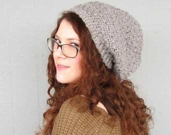 Grey Gray Hipster Slouchy Crochet Hat Hippy Hippie Snood Rasta Women's Hand Made Winter Accessory