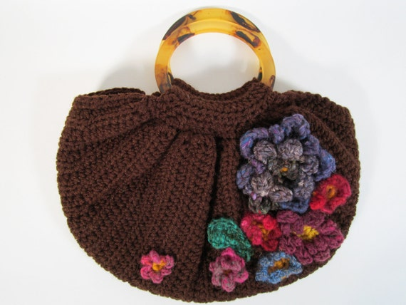 Crochet Boho Slouchy Slouch Bag Hippie Purse with Flowers Womens Handmade Accessory for Summer