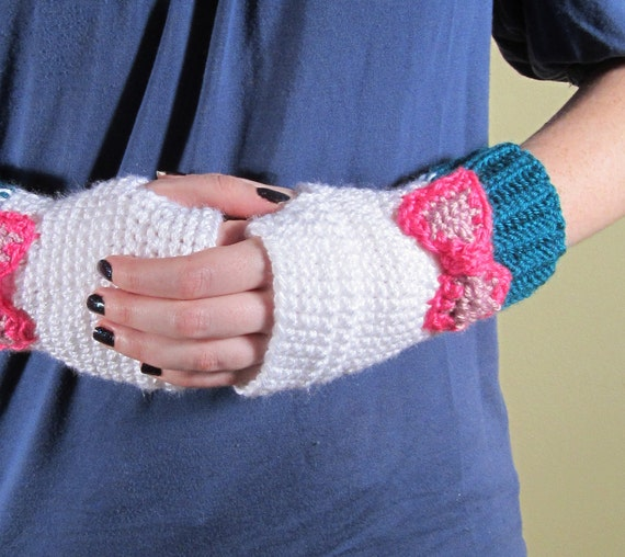 womens fingerless gloves with bow crochet cute kawaii winter