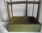 Primitive Treenware Candle Box Home Decor Bayberry Green Tall Handled Tray Table Carrier Folk Art Rustic Country Decor Milk Paint Finish