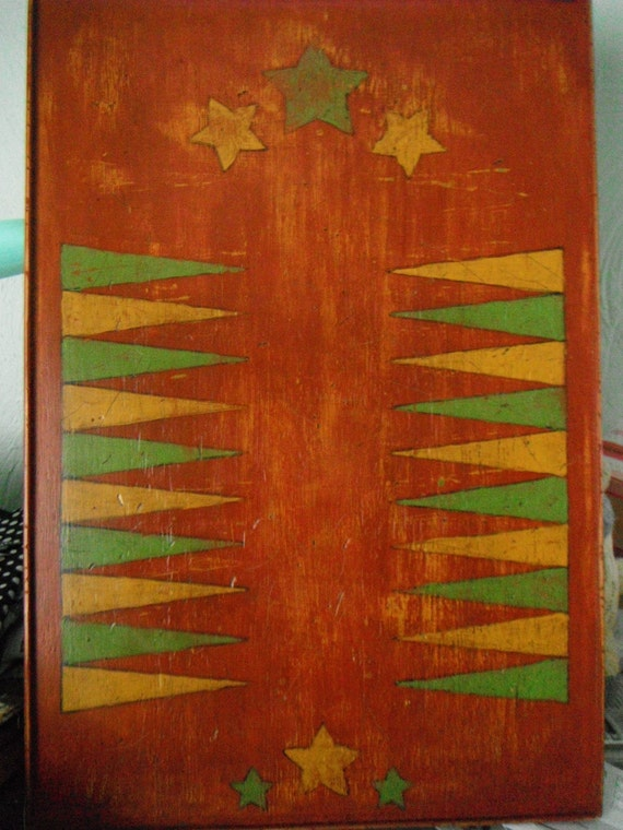 Home Decor Backgammon, Folk Art, Primitive, Rustic, Game Board,  Country Decor,  Solid Wood, Red, Green, Gold, Handmade