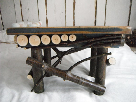 Twig Footstool, Primitive, Rustic, Folk Art, Maple Hardwood, Soldier Blue, Primitive Furniture, cottage furniture, Twig Furniture, Cottage