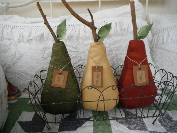 Country home decor pears fabric rustic primitive french Pear home decor