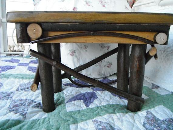 Twig Footstool Primitive Mustard Yellow Furniture Rustic Maple Hardwood Folk Art Country Handmade Home decor Home Accessory