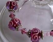 Magenta & Pink Lampwork Bracelet - Free Shipping