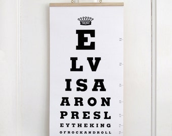 The Elvis Presley Eye Test Chart. Limited Edition Canvas Print Artwork.