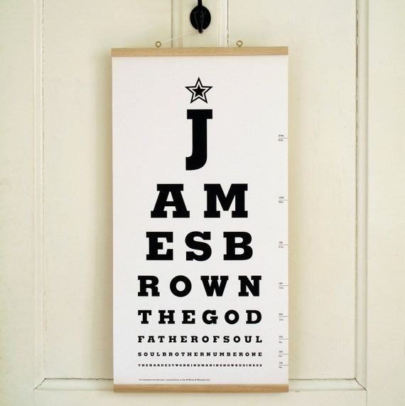The James Brown Eye Test Chart. Limited Edition Canvas Print Artwork.