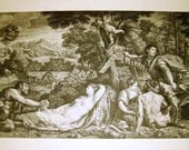 19th century steel engraving nudes, saytrs in landscape, 13 x 18 1/2