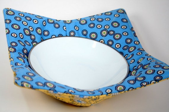 Pot holder  - Kitchen Microwave Bowl Potholder - Yellow and Blue Fabric - Use For Ice Cream Too