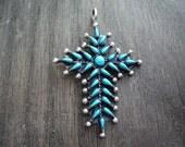 Native American Made Zuni Needlepoint Cross Pendant